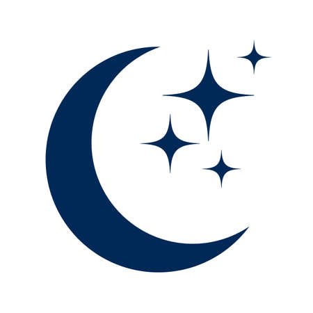 Moon and stars flat icon, isolated sign - vector Illusztráció