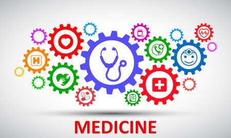 Medecine and Health flat concept mechanism - stock vector