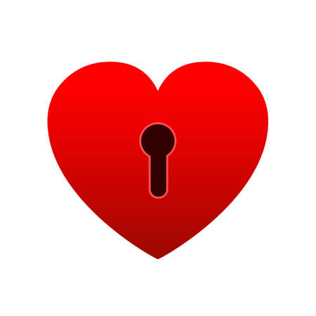 Heart lock icon. Unlock love, heart flat icon for apps and websites - stock vector