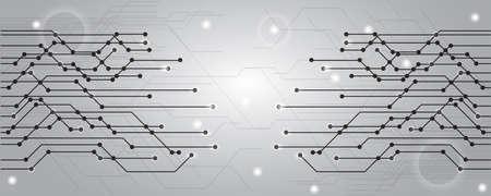 Geometric gray technology background - stock vector
