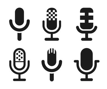 Microphone speaker icon set for apps and websites - stock vector
