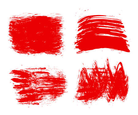 Red set of paint, brush strokes - for stock