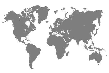 Gray World Map - vector illustration
