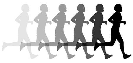 Silhouette jogger jogging - stock vector