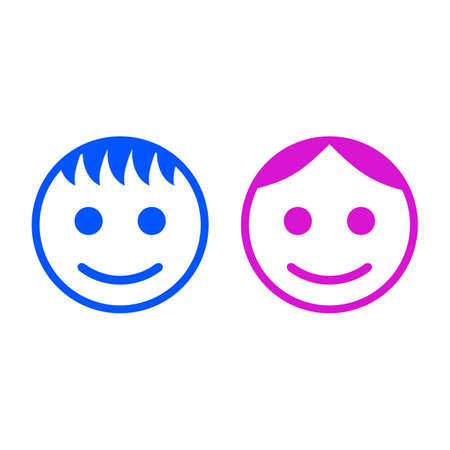 Baby boy and girl face icon symbol sign - vector Ilustracja