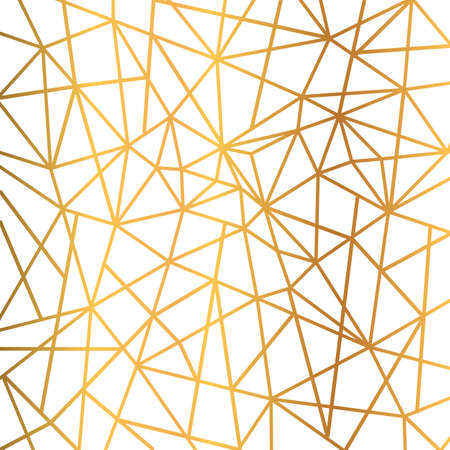 Gold foil wire triangles geometric seamless mosaic repeat pattern background - stock vector Ilustración de vector