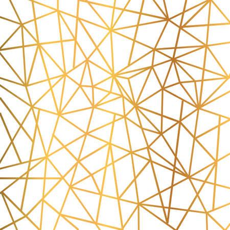Gold foil wire triangles geometric seamless mosaic repeat pattern background - stock vector Vektoros illusztráció