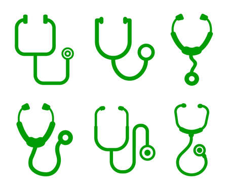 Set stethoscopes icons - stock vector