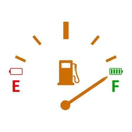 Full tank, clock face fuel measurements, dashboard scale, car control sensor - stock vector