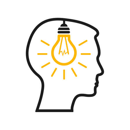 Idea, creative concept with man and bulb - vector