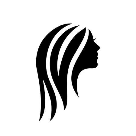 Silhouette hair girl, salon sign - stock vector