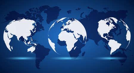 Set White Globe on World Map - stock vector Ilustração