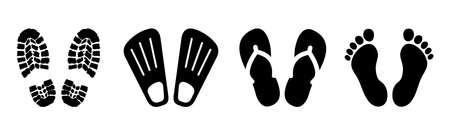 Set shoeprints, barefoot, flutter - stock vector