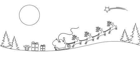 Santa Claus flyin on Christmas sleigh in the night - for stock vector Vektorgrafik