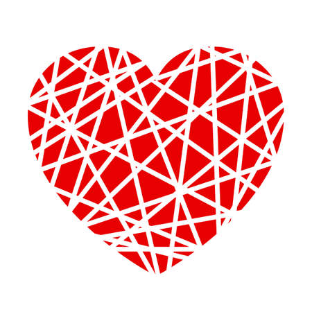 Elegancy red heart in a spider web - for stock vector