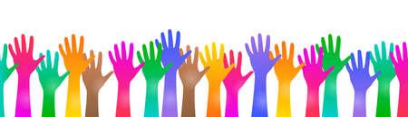 Colored hand crowd - vector Ilustração Vetorial