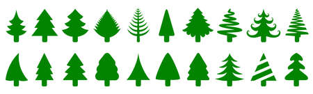 Set green tree - stock vector