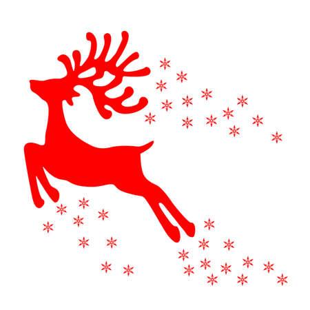 Fly christmas reindeer sign - vector