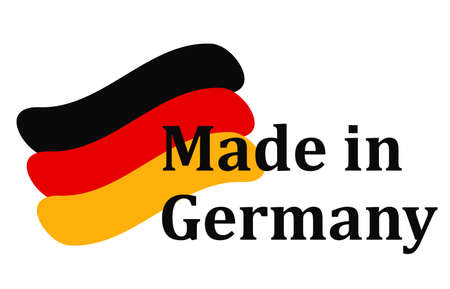 Slogan Made in Germany with colorful brush strokes painted flag - vector
