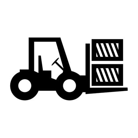 Forklift truck loading the boxes. Illustration of forklift truck is raising a pallet - stock vector