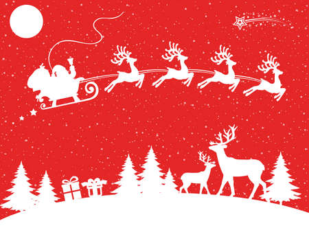 Santa Claus flyin on Christmas sleigh in the night - for stock