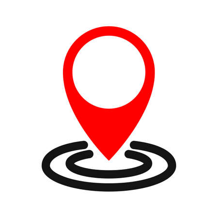 Pin map marker pointer icon, GPS location flat symbol - vector Ilustração