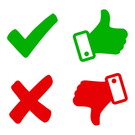 Up and down index finger with check mark and cross - vector for stock Иллюстрация