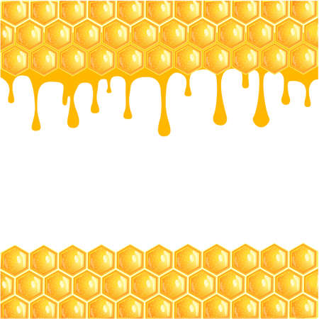 Honeycomb background with flowing honey - stock vector Иллюстрация