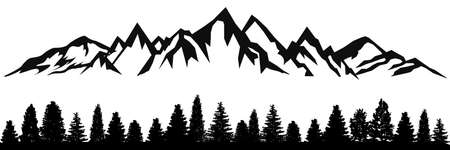 Mountain ridge with many peaks and the forest at the foot - stock vector Vecteurs