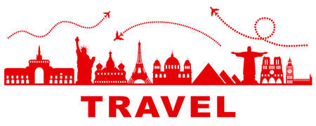 Travel, wonders of the world, landmarks - vector