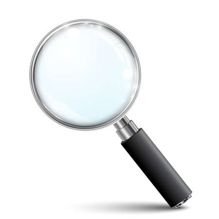 Magnifying glass, big tool with shadow - stock vector