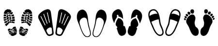 Set shoeprints, barefoot, flutter - vector 矢量图像