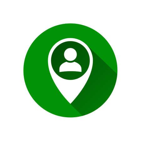 User avatar icon, sign, profile symbol, flat person icon in pin map marker pointer icon, GPS location flat symbol