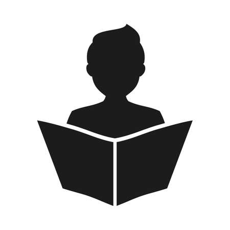 Man read a book simple icon. Education symbol. Instruction manual icon - vector for stock