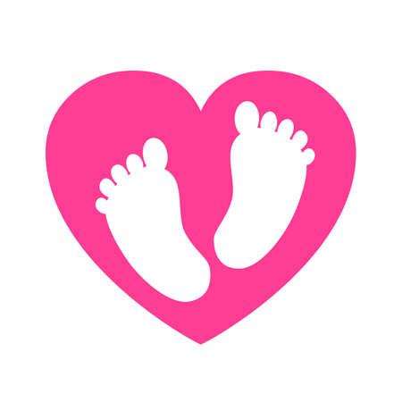 Baby footprints in heart icon - stock vector Ilustracja