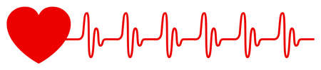 Heart pulse, cardiogram sign, heartbeat, one line - vector for stock