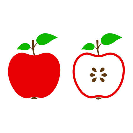 Two red apple icons - stock vector 矢量图像
