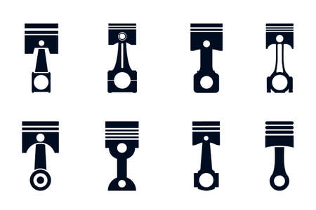 Piston spare set icons parts for cars - stock vector Vettoriali
