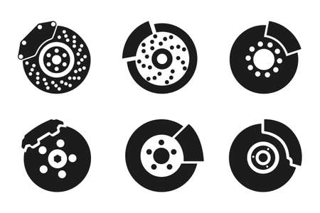 Brake pad icons parts for cars - stock vector