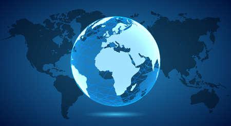 White Globe on World Map - vector