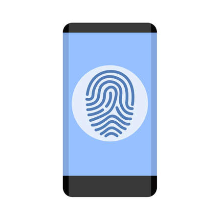Black smartphone with fingerprint scanning icon for apps with security unlock - stock vector