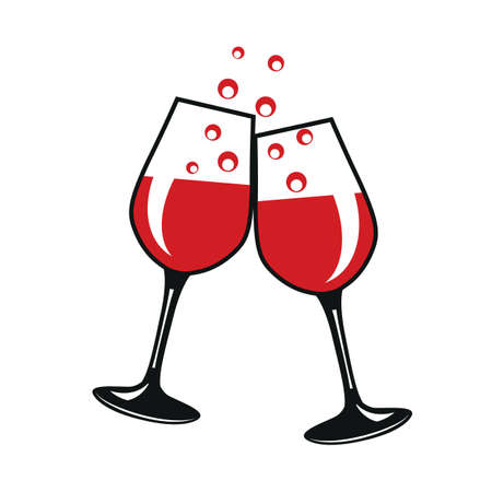 Two wineglass icon, logo, sign, emblem - stock vector