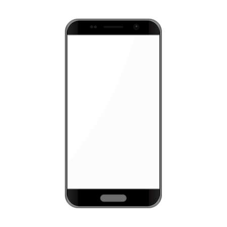 Black smartphone with white touch screen - vector