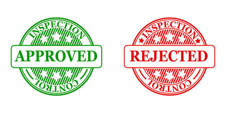 Approved and rejected stamp icon sign - stock vector