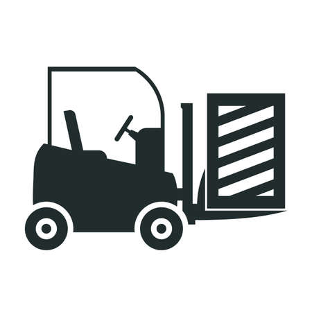 Forklift truck loading the boxes. Illustration of forklift truck is raising a pallet - vector