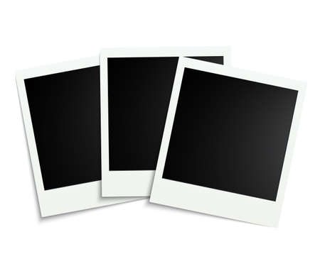 Three white photo frame - stock vector