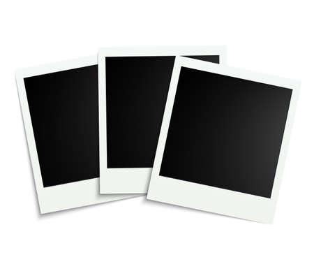 Three white photo frame - stock vector