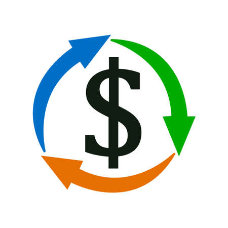 Money circulation icon. Dollar with arrows icon in a flat design - vector