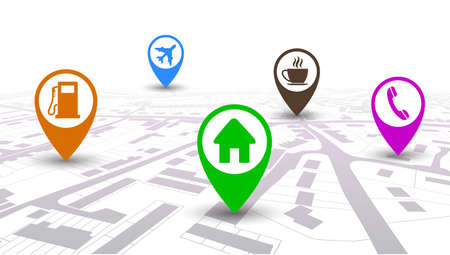 Travel Map with GPS Pin Mark - vector Ilustracja