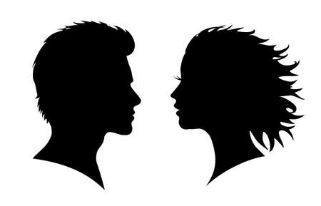 Man and woman silhouette. Face to face - for stock